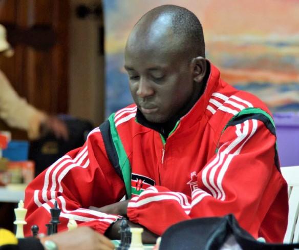James Panchol winner of the 61st Nairobi Chess Club Championship in action. Photo credit Kim Bhari.